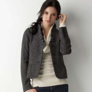 Ann Taylor Loft Ruffle Tweed Wool Blend Blazer 14